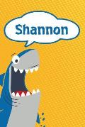 Shannon: Personalized Shark Handwriting Practice Paper for Kids Notebook 120 Pages 6x9