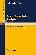 Zahlentheoretische Analysis: Wiener Seminarberichte 1980-82