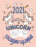 Unicorn Coloring 2021 Calendar: Unicorn Coloring book with 2021 Calendar for kids and adults; 12 Month page; monthly 2021 planner with note and 2021 g