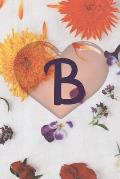 B: floral monogram letter b notebook college pink 100 page 6/9 Special for both old and young children books now